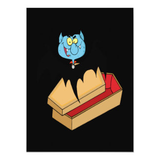 funny vampire bat with coffin cartoon personalized announcements