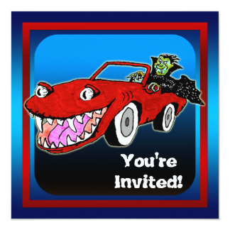 "Funny Vampire Halloween Party Invitation 5.25"" Square Invitation Card"