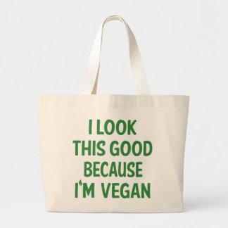 Funny Vegan Vegetarian Veganism Animal Lover Quote Large Tote Bag