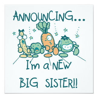 Funny Veggies New Big Sister Personalized Announcements