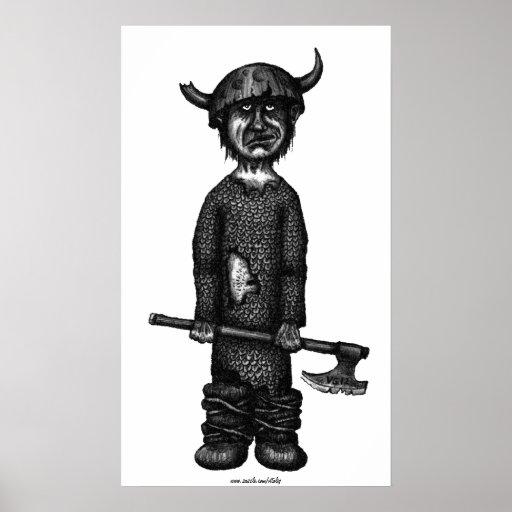 Funny viking pen ink drawing art print