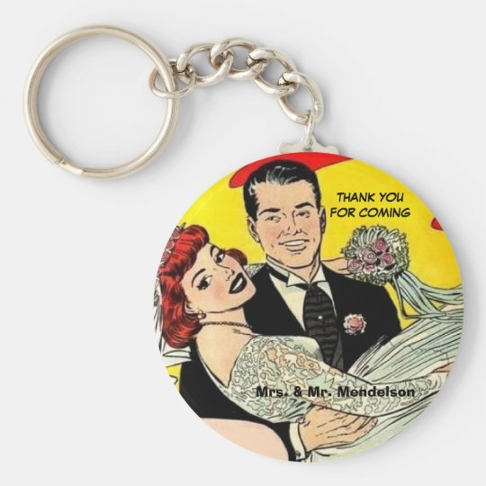 Funny vinatge wedding favours basic round button keychain