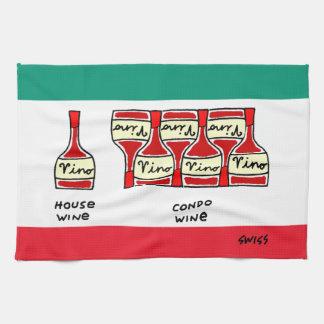 Funny Vino Wine Cartoon Italian Flag Colors Kitchen Towel