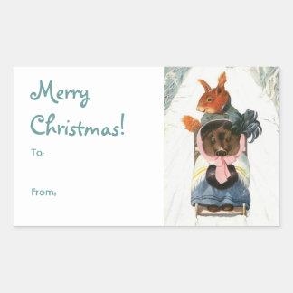 "Funny Vintage Animals Sledding ""Merry Christmas"" Sticker"