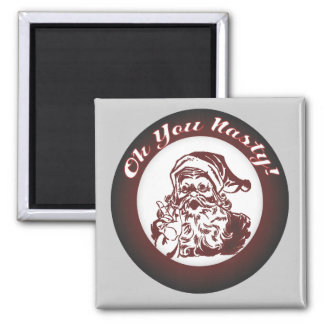 Funny Vintage Bad  Santa Retro Christmas Square Magnet