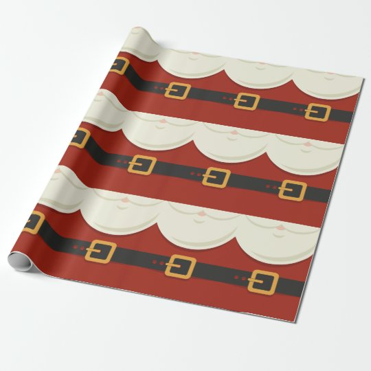 Funny Vintage Christmas Santa Claus Suit Wrapping Paper