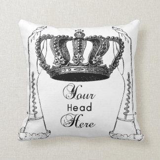 funny vintage coronation crown pillow black,white