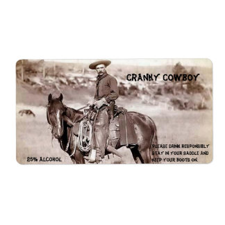 Funny, Vintage, Cowboy, Custom Wine Label