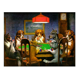 Funny Vintage Dogs Playing Poker Postcard