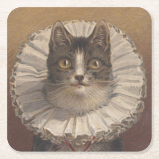Funny Vintage Edwardian Cat Coasters, Set of 6 Square Paper Coaster