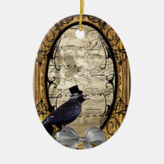 Funny vintage Gothic wedding crow Ceramic Oval Ornament