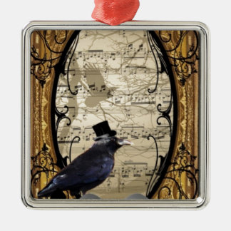 Funny vintage Gothic wedding crow Silver-Colored Square Ornament