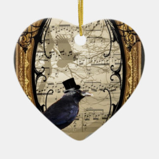 Funny vintage Gothic wedding crow Ceramic Heart Ornament