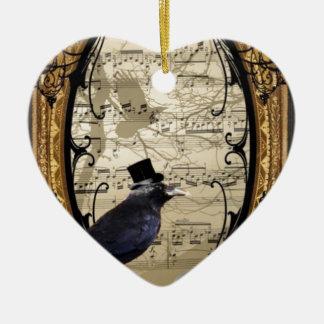 Funny vintage Gothic wedding crow Ornament