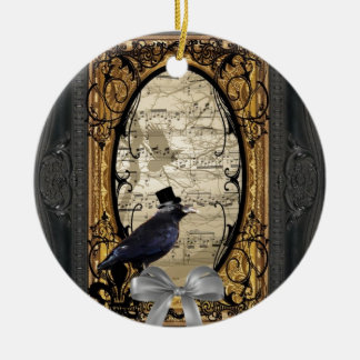 Funny vintage Gothic wedding crow Round Ceramic Ornament