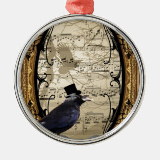 Funny vintage Gothic wedding crow Silver-Colored Round Ornament