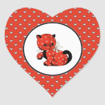 Funny Vintage Kitty Valentine's Day Gift Stickers
