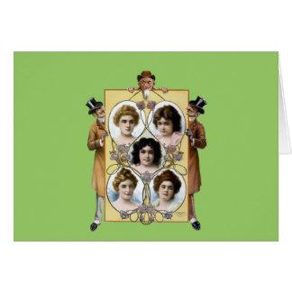 Funny vintage men women poster greeting card