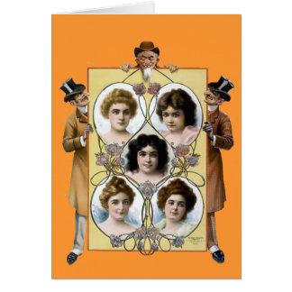 Funny vintage men women poster greeting cards