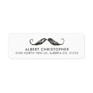 Funny Vintage Mustache Return Address Label