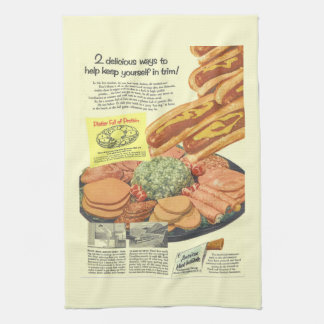 "Funny Vintage ""Platter Full of Protein"" Advert Kitchen Towel"