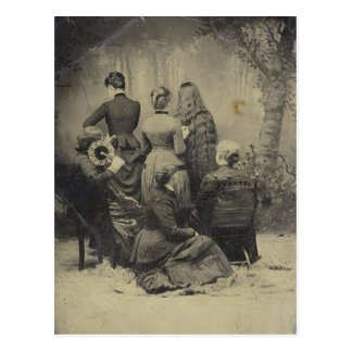 Funny Vintage Portrait of Victorian Family Postcard