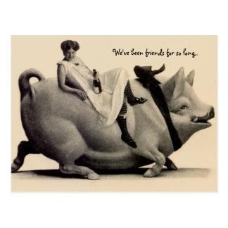 Funny vintage Postcard lady riding a pig bff