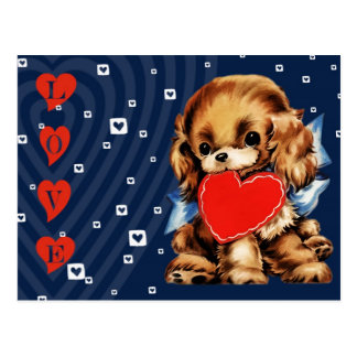 Funny Vintage Puppy Valentine's Day Postcards