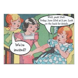 "Funny Vintage Retro Cartoon Comic Party 5"" X 7"" Invitation Card"