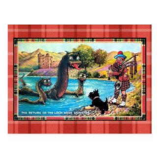 Funny vintage return of the Loch Ness Monster Postcard