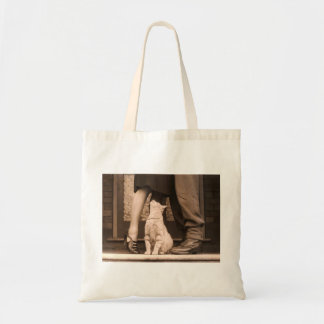 Funny Vintage Sepia Cat Photograph Tote Budget Tote Bag