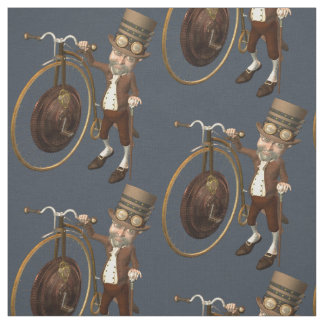 Funny Vintage Steampunk Penny Farthing Fabric