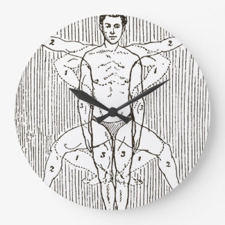 Funny Vintage Swimming Diagram Large Clock