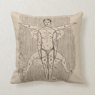 Funny Vintage Swimming Diagram Throw Pillow