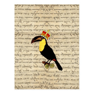 Funny vintage toucan & crown postcard