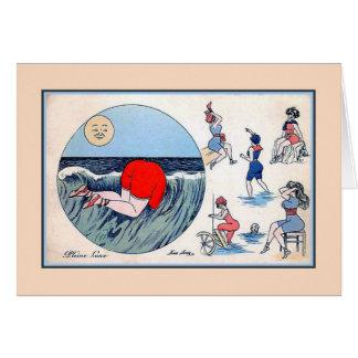 Funny vintage women bathing belle époque full moon greeting card