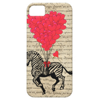 Funny vintage zebra heart balloons iPhone 5 cases