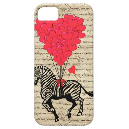 Funny vintage zebra & heart balloons iPhone 5 cases