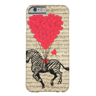 Funny vintage zebra heart balloons iPhone 6 case