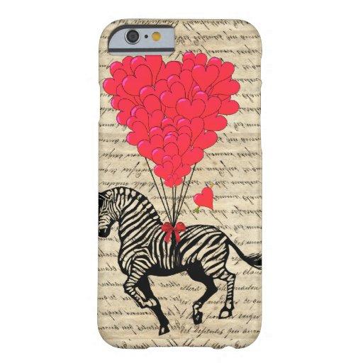 Funny vintage zebra & heart balloons iPhone 6 case