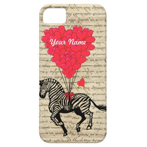 Funny vintage zebra & heart balloons iPhone 5 covers