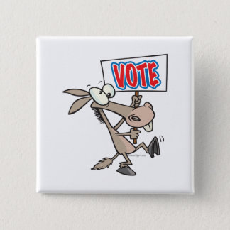 funny vote democrat donkey cartoon 2 inch square button
