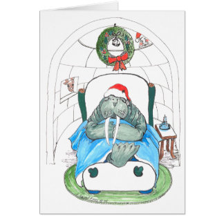 Funny Walrus and Igloo Wildlife Christmas Card