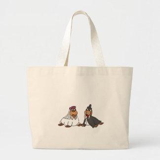 Funny Walrus Bride and Groom Wedding Jumbo Tote Bag