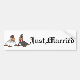 Funny Walrus Bride and Groom Wedding Bumper Sticker
