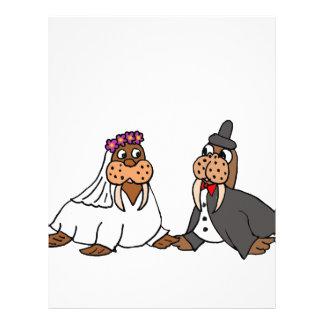 Funny Walrus Bride and Groom Wedding Letterhead Design
