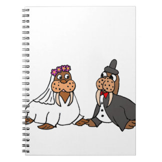 Funny Walrus Bride and Groom Wedding Notebooks