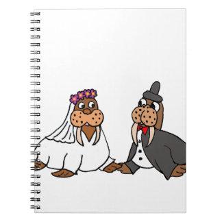 Funny Walrus Bride and Groom Wedding Notebooks