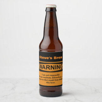 Funny Warning Homemade Beer Labels
