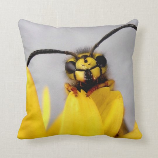 Funny Wasp Throw Pillows